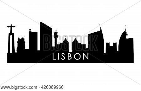 Lisbon Skyline Silhouette. Black Lisbon City Design Isolated On White Background.