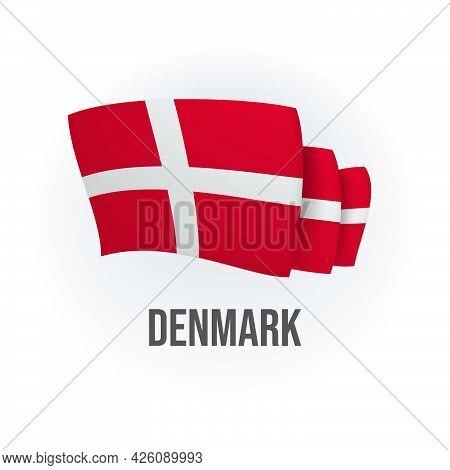 Vector Flag Of Denmark. Danish Waving Flag. Vector Illustration.