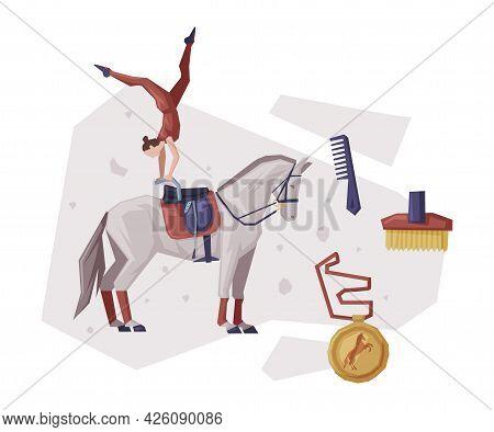 Girl Vaulting On Horse, Equestrian Sport Equipment, Grooming Tools, Medal Vector Illustration