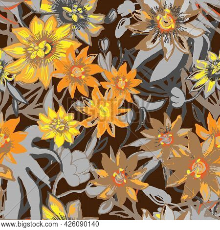 Tropic Exotic Flowers Seamless Pattern. Passiflora, Orchid, Plumeria. Isolated On Dark Background Wi