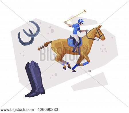 Polo Sport Player Galloping On Horse, Equestrian Sport Equipment Vector Illustration