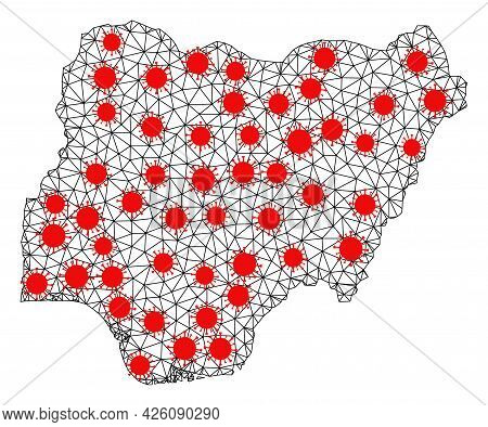 Network Polygonal Map Of Nigeria Under Outbreak. Vector Structure Is Created From Map Of Nigeria Wit