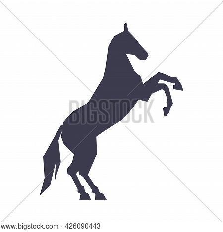 Silhouette Of Racing Horse Standing On Its Hind Legs, Derby, Equestrian Sport Vector Illustration