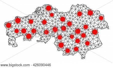 Carcass Polygonal Map Of North Brabant Province Under Outbreak. Vector Structure Is Created From Map