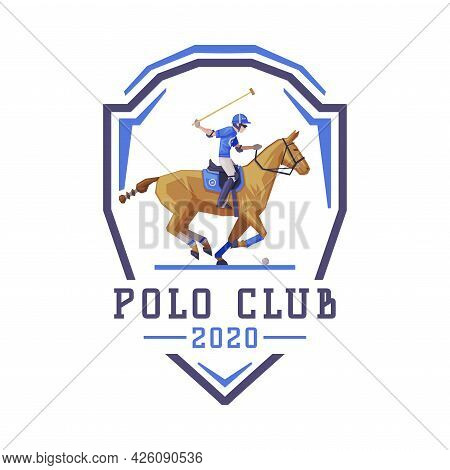 Polo Club Logo Design, Jockey Riding With Jumping Horse, Equestrian Sports, Derby, Tournament Label,
