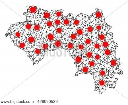 Wire Frame Polygonal Map Of French Guinea Under Infection. Vector Structure Is Created From Map Of F