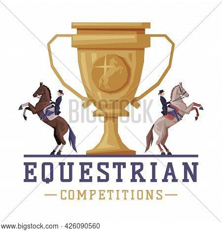 Equestrian Competitions Logo Design, Sports Club, Derby, Tournament Label, Emblem Vector Illustratio