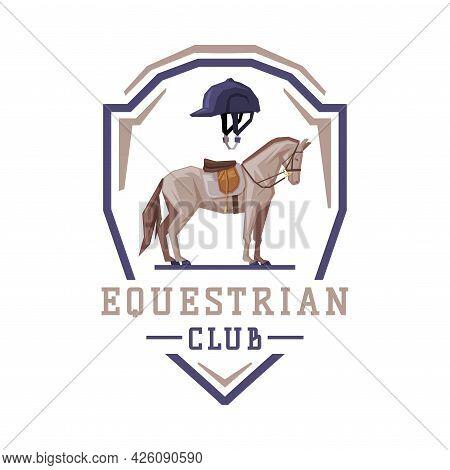 Equestrian Club Logo, Racing Horse In Shield, Competition, Tournament Label, Emblem Vector Illustrat