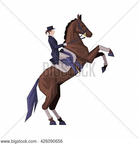 Jockey Riding On Racing Horse, Man In Vintage Style Clothes Jumping On Horse Vector Illustration
