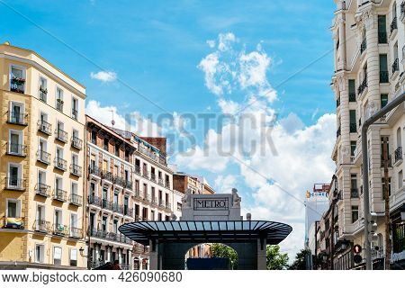 Madrid, Spain - June 18, 2021: The New Metro Station Of Gran Via In Red De San Luis Plaza, Currently