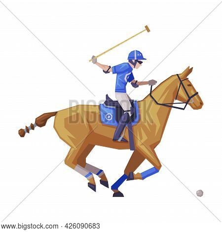 Polo Sport Player Galloping On Racing Horse Vector Illustration