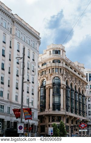 Madrid, Spain - June 18, 2021: Cityscape Of Gran Via, The Iconic Avenue Of Madrid Famous For His Cin