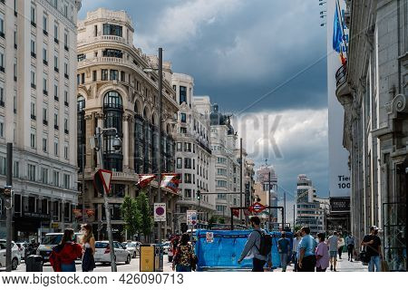 Madrid, Spain - June 18, 2021: Busy Street Scene In Gran Via, The Iconic Avenue Of Madrid Famous For