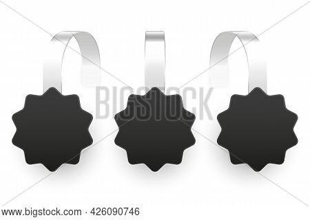 Blank Supermarket Promotional Wobblers Isolated On White Background. Realistic Wobbler Template For