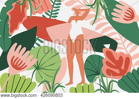 Surfer Girl Character In Bikini With A Surfboard In Jungle. Surfing Summer Background Illustration F