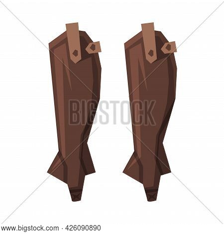 Jockey Leather Safety Shoes, Equestrian Sports Ammunition Vector Illustration