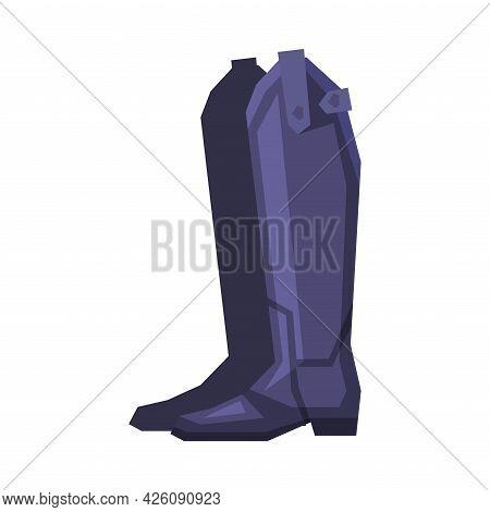 Black Leather Boots, Equestrian Sports Ammunition Vector Illustration