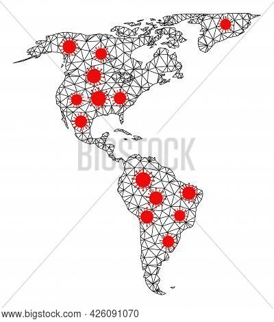 Carcass Polygonal Map Of South And North America Under Infection. Vector Structure Is Created From M