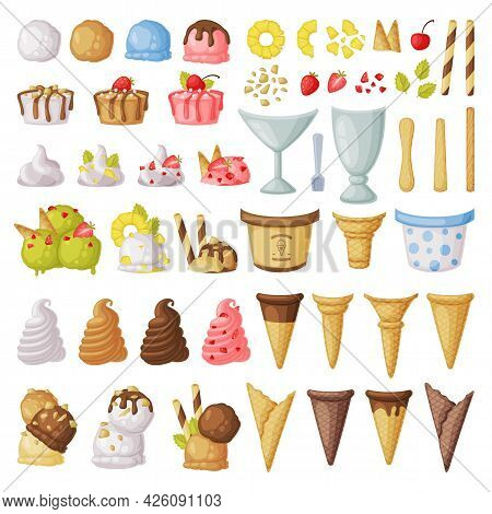 Ice Cream Constructor Big Set, Fresh Cold Sweet Tasty Desserts Cartoon Vector Illustration