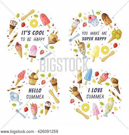 Ice Cream With Motivational Quotes Set, Summer Inspirational Poster, Card Design Cartoon Vector Illu