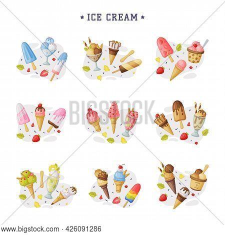 Ice Cream Set, Cold Sweet Tasty Desserts Of Different Flavors Cartoon Vector Illustration