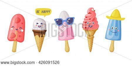 Ice Cream Characters Set, Sweet Tasty Desserts, Colorful Popsicles With Cute Smiling Faces Cartoon V