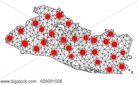 Mesh Polygonal Map Of El Salvador Under Outbreak. Vector Model Is Created From Map Of El Salvador Wi