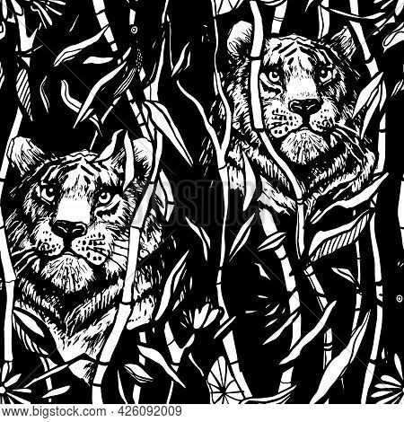 Tiger And Lion Seamless Pattern. Exotic Jungle Black Background With Drawn Tropical Bamboo Leaves An