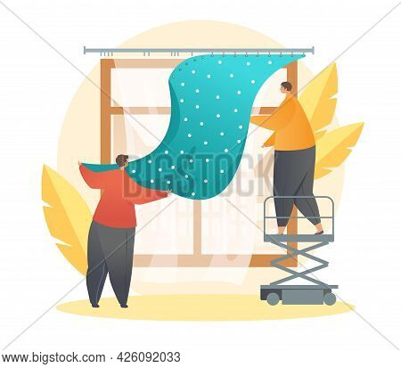Process Of Hanging Curtains. Two Men Help Each Other To Hang Tulle On The Ledge. Decoration Of The I