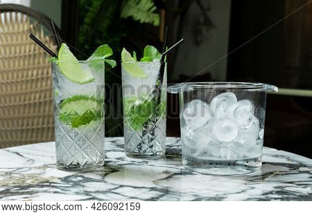 Gin Tonic Mojito Glass Cocktail Water Ice Lime Tropical Leaves Table Drink