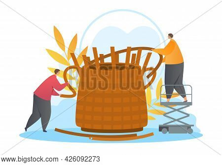 Basket Weaving Concept. Two Characters Hold A Twig And Thread It Through The Holes Of The Future Bas