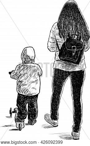 Freehand Drawing Of Young Mother With His Little Kid On Scooter Walking For A Stroll