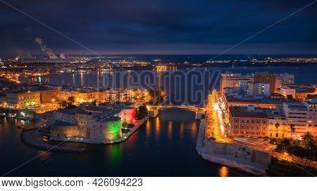 Aerial View Of Taranto City At Night, Puglia. Italy
