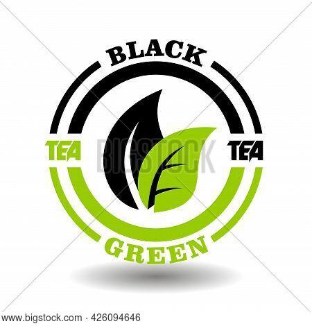 Creative Circle Logo Of Green And Black Tea Mixture. Concept Round Icon Of Blend Tea Mix, Herbal Dri