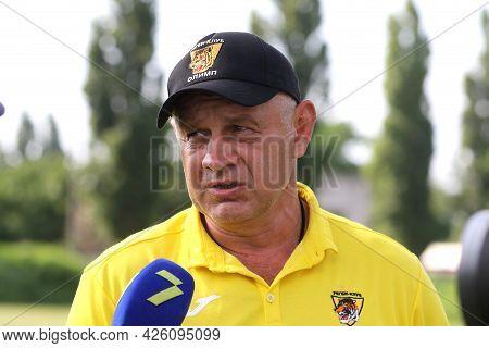 Odessa, Ukraine - June 23, 2021: Odessa National Team Credo (red) - Olymp Kharkiv (yellow) Rugby-7.