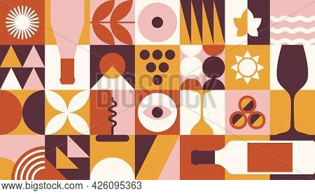 Abstract Wine Banner In Geometric Style. Vector Background For Wine Tasting, Festival, Branding, Etc