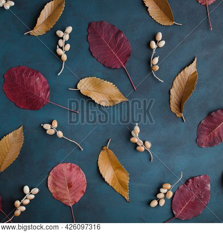 Autumn Background, Pattern Made Of Dried Leaves