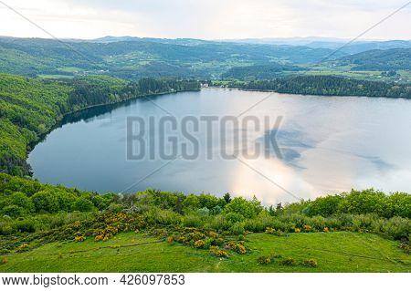 view of Lake Issarles, Le Lac-d'Issarlès, Ardeche, Auvergne-Rhône-Alpes, France
