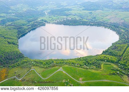 view of Lake Issarles with a motorhome in the foreground, Le Lac-d'Issarles, Ardeche, Auvergne-Rhône-Alpes, France