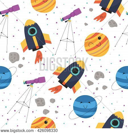 Cute Vector Seamless Pattern With Colorful Spaceship, Planets, Telescope And Asteroids. Background F