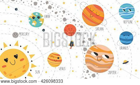 Solar System Scheme. Vector Planets, Asteroid Belt, Spaceship And Ufo In Cute Hand Drawn Cartoon Sty