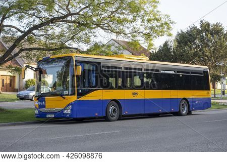 Prusanky, Czech Republic - May 18, 2020: The Blue-yellow Iveco Crossway Le Line 12m Coach Of Bors Co