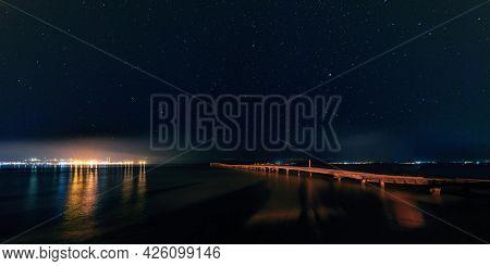 Night panorama of Alcudia on the island of Majorca