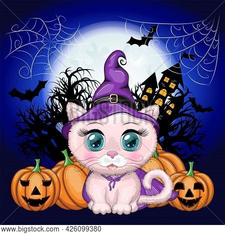 Cartoon Cat Wearing A Purple Witch Hat And Cloak With A Broom, Potion Or Pumpkin. Against The Backgr