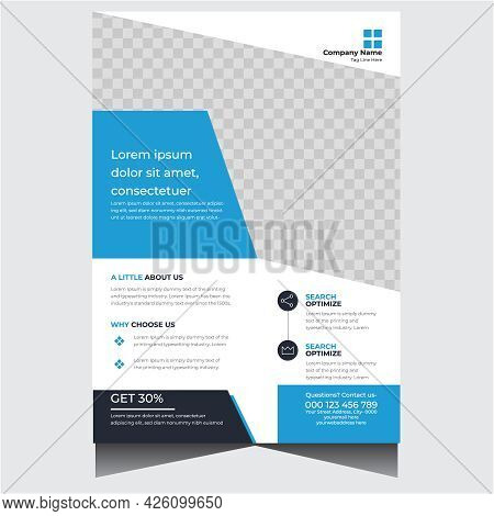 Creative Blue And White Business Flyer Vector Template