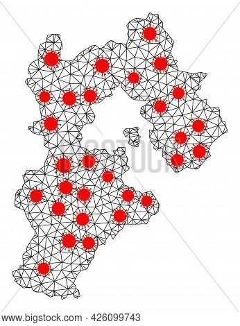 Carcass Polygonal Map Of Hebei Province Under Outbreak. Vector Model Is Created From Map Of Hebei Pr