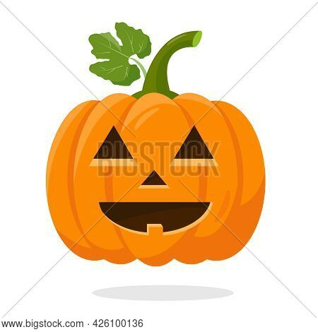 Orange Halloween Pumpkin With Green Leef Isolated On White Background. Funny Pumpkin Face For Autumn