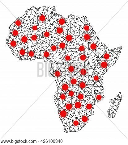 Wire Frame Polygonal Map Of Africa Under Lockdown. Vector Model Is Created From Map Of Africa With R