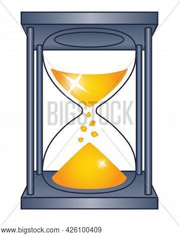 Hourglass - Vector Full Color Picture For Logo Or Pictogram. Silver Hourglass With Golden Sand. The