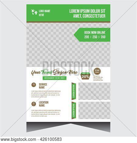 Creative Green Travel Flyer Vector Design Template